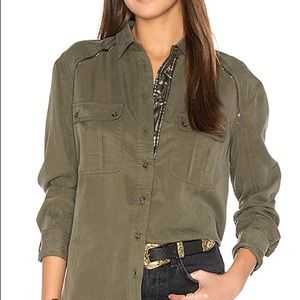 Free People Off Campus Green Button Down Top